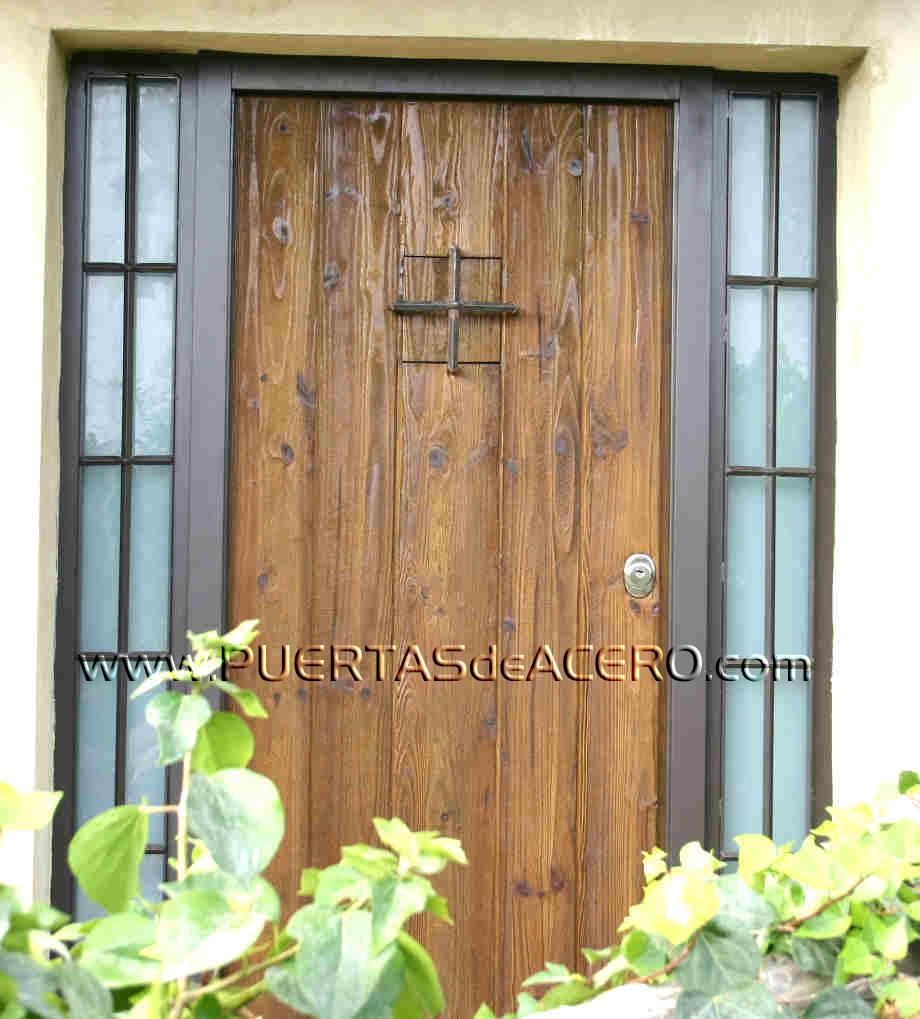 Puerta rustica con fijos laterales