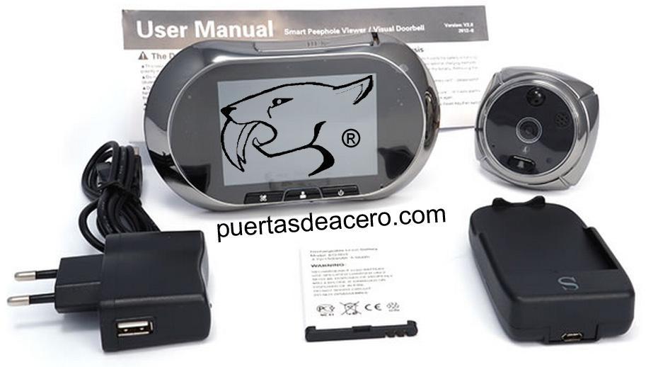 cámara de grabación con mirilla digital electrónica y accesorios