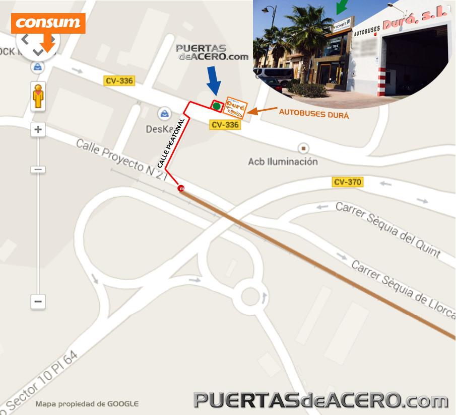 mapa exposición desde el metro de Ribaroja de Turia