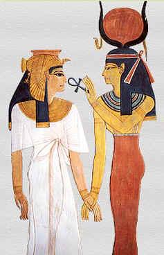 Imagen de una pareja egipcia con una llave